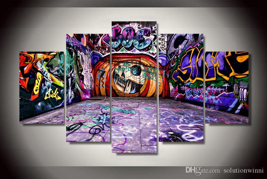 2017 5 panel hd printed graffiti street picture painting