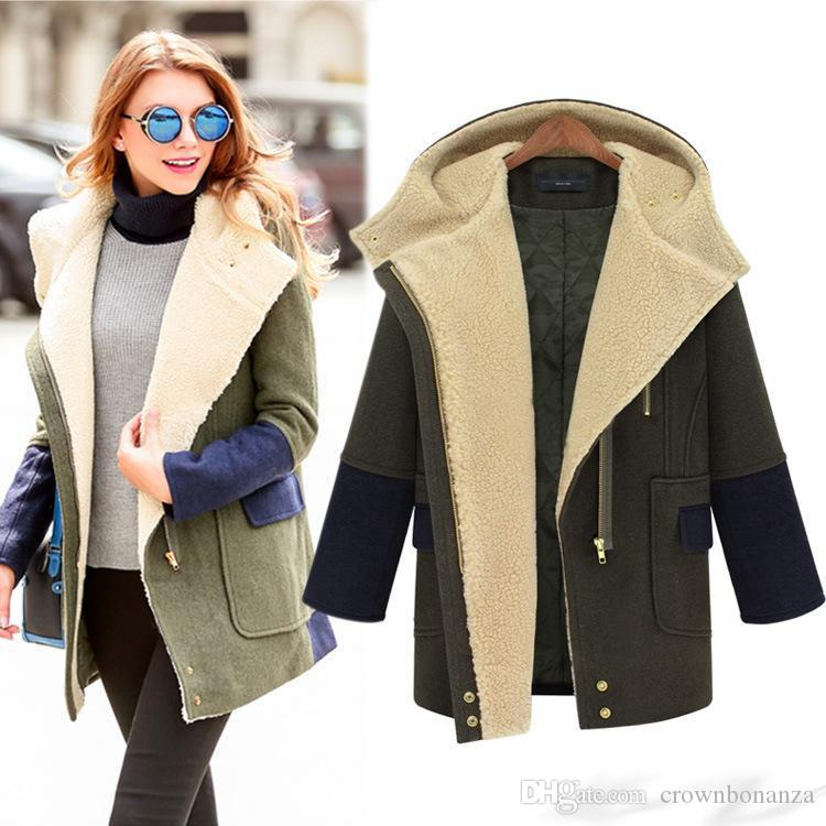 2016 Winter Military Wool Coat For Women Hooded Quilted Jacket ...