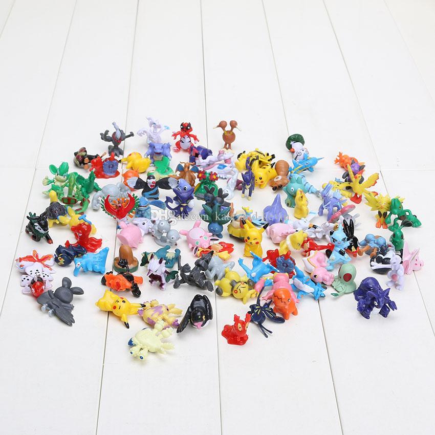 144pcs Poke Figures Toys 2-3cm Pikachu Charizard Eevee Bulbasaur Suicune PVC Mini Model Toys For Children