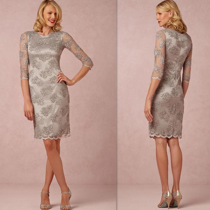 Casual Mother Of The Bride Dresses 2016 Beaded Sliver Lace