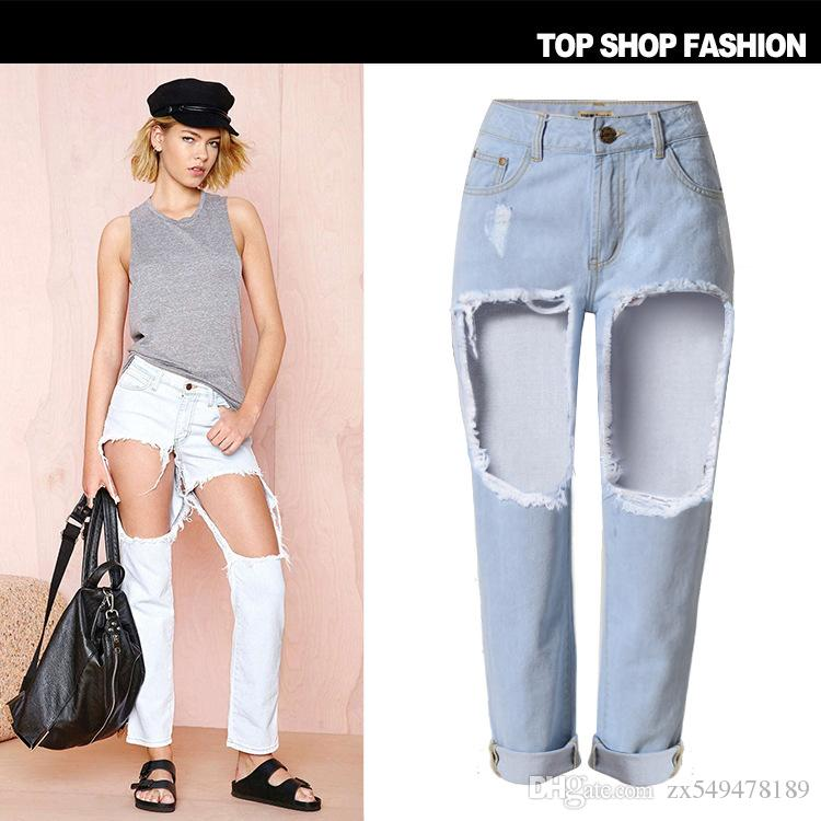 2017 2016 new boyfriend jeans for women loose straight high waist ripped jeans women femme. Black Bedroom Furniture Sets. Home Design Ideas
