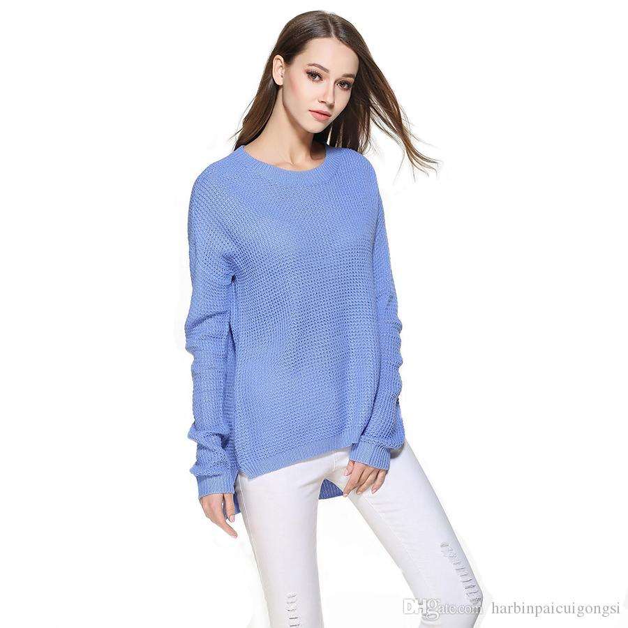 Loose Round Neck Ladies Sweaters Open Plus Sizes Women Fashion ...