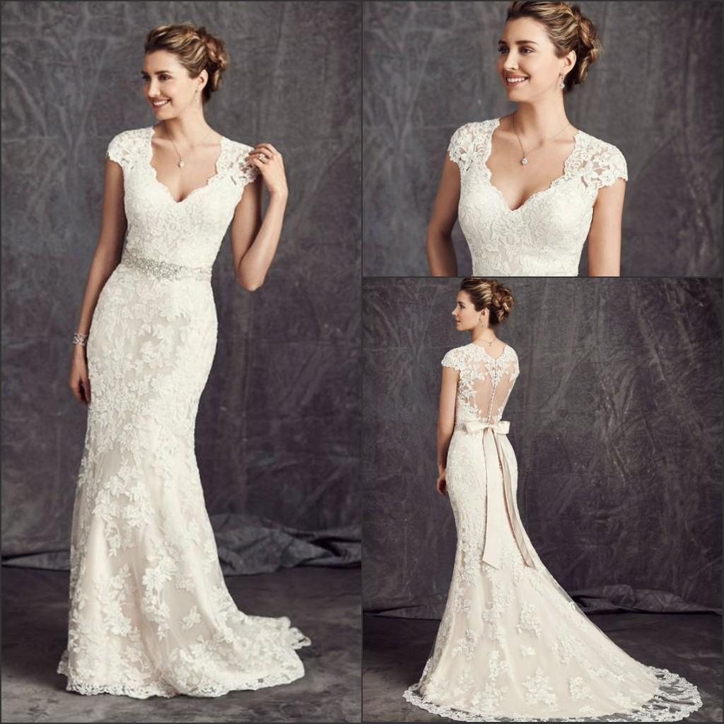 2016 New Lace Mermaid Wedding Dresses Cap Sleeves V Neck