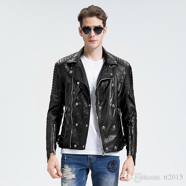 2017 Fall Winter Jacket Men Black Leather Jacket Skull ...
