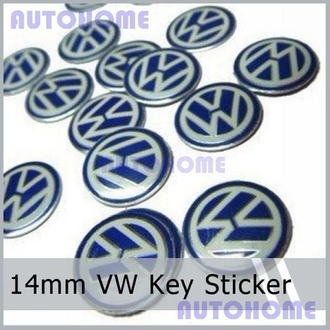 100Pcs / Lot New Metal Chrome 14MM VW Key FOB Logo Badge Emblem Sticker Pour VOL