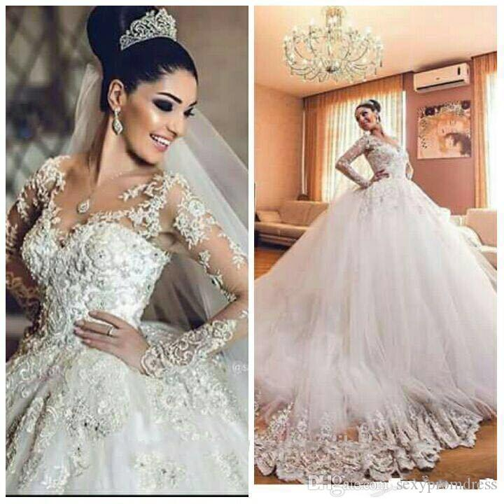 Vintage Wedding Dresses 2016-2017 Sheer Neck 3D Appliques Long Sleeves ...