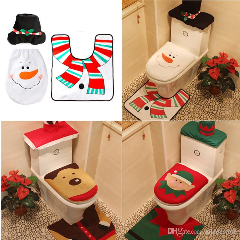 3 Styles Funny Toilet Seat Cover And Rug Bathroom Set