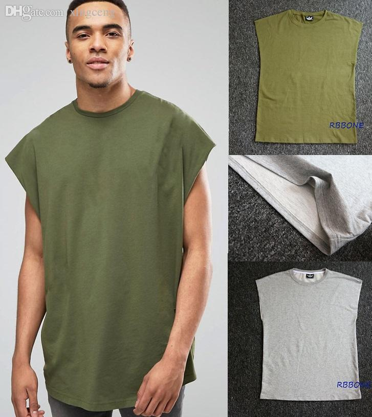 2017 wholesale hip hop kanye west grey green bodybuilding for Mens sleeveless denim shirt wholesale