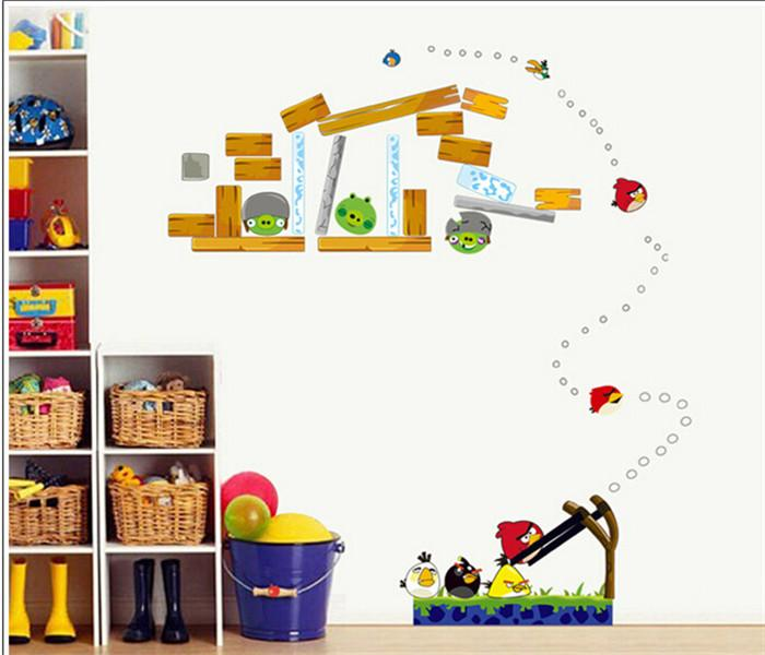 Best angry bird wall stickers cartoon 3d birds wallpapers for Angry birds wall mural
