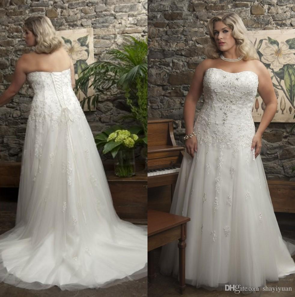 Plus size wedding dresses strapless tulle a line court for Used plus size wedding dress