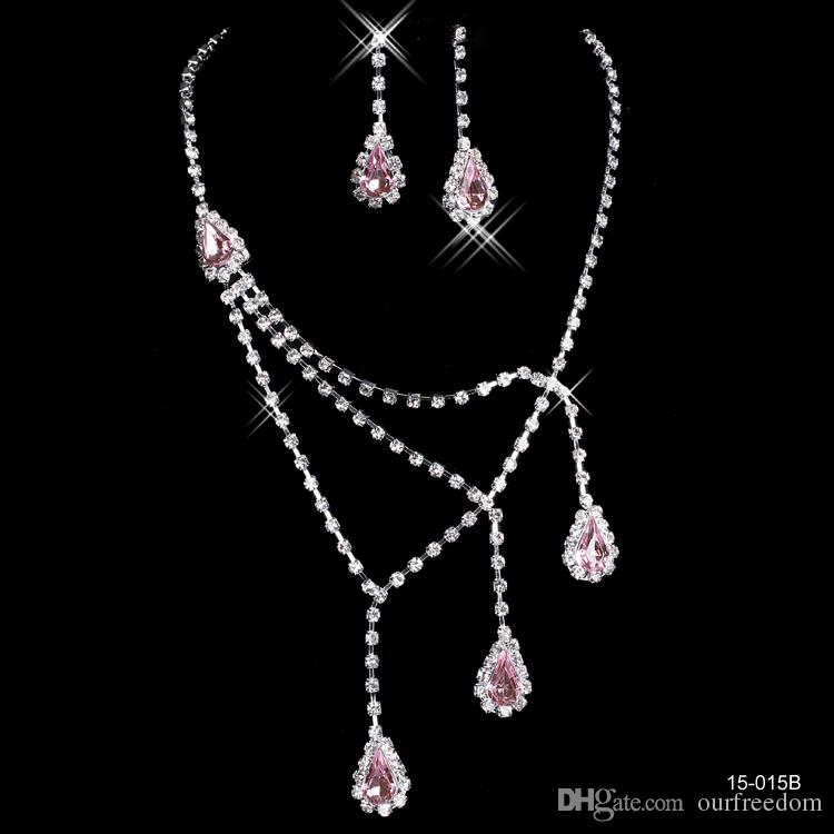 2017 pink rhinestone bridal jewelry sets earrings necklace for Pink wedding jewelry sets