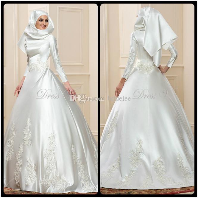 Islamic Wedding Dresses With Hijab 2017 : New arrival long sleeve muslim wedding dresses ball