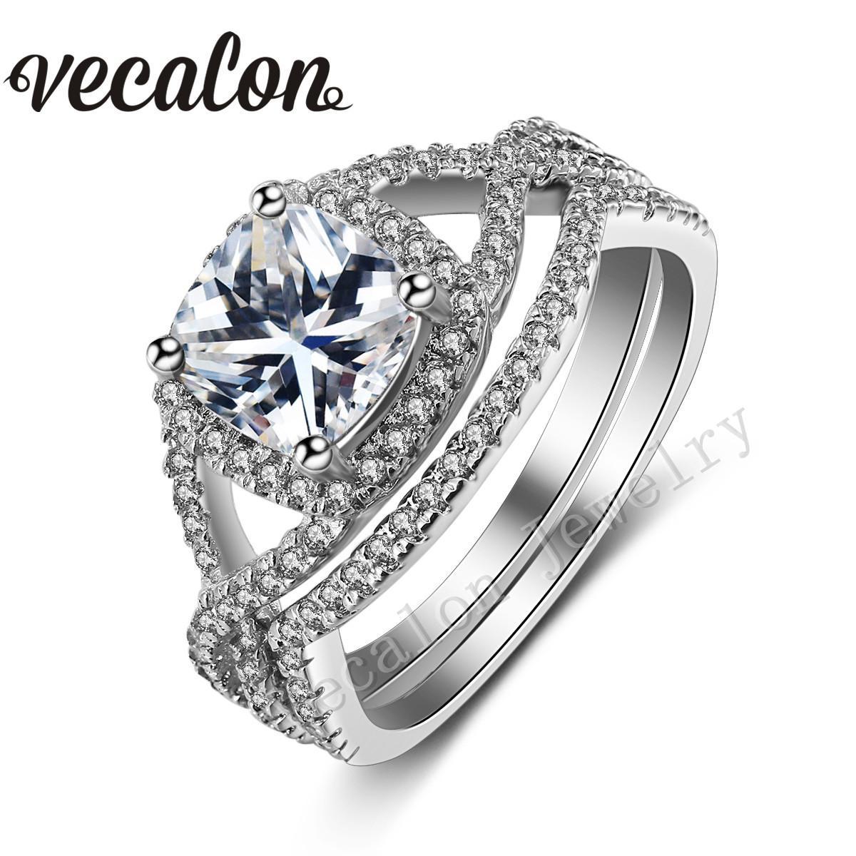 2017 Vecalon 2016 New Design Cushion Cut 3ct Simulated Diamond Cz Wedding Ring Set For Women