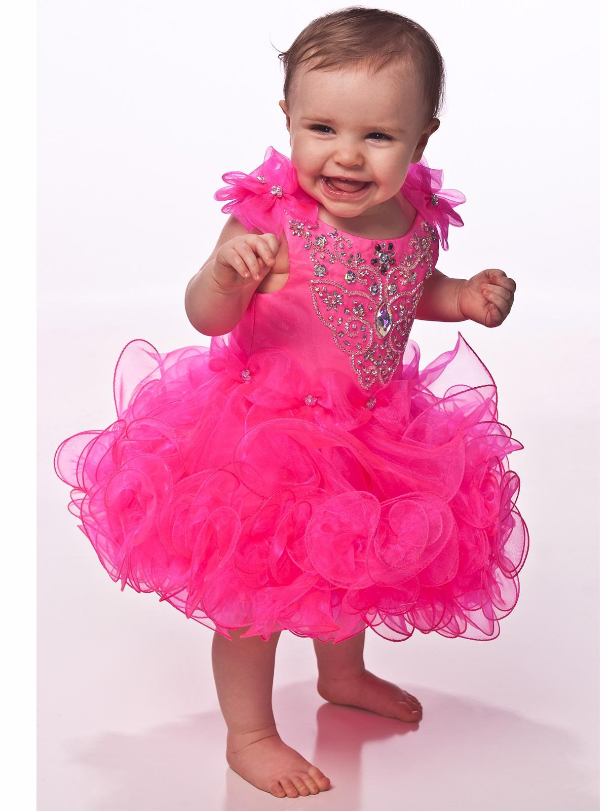 2016 New Mini Hot Pink Short Cupcake Girls Pageant Dresses Cute ...