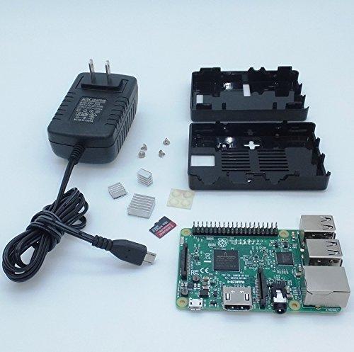 Raspberry Pi 3 Model B Basic Kit + 16GB microSD Case 5V/2.5A Adapter Heatsinks (WI-fi & BTluetooth 0n board