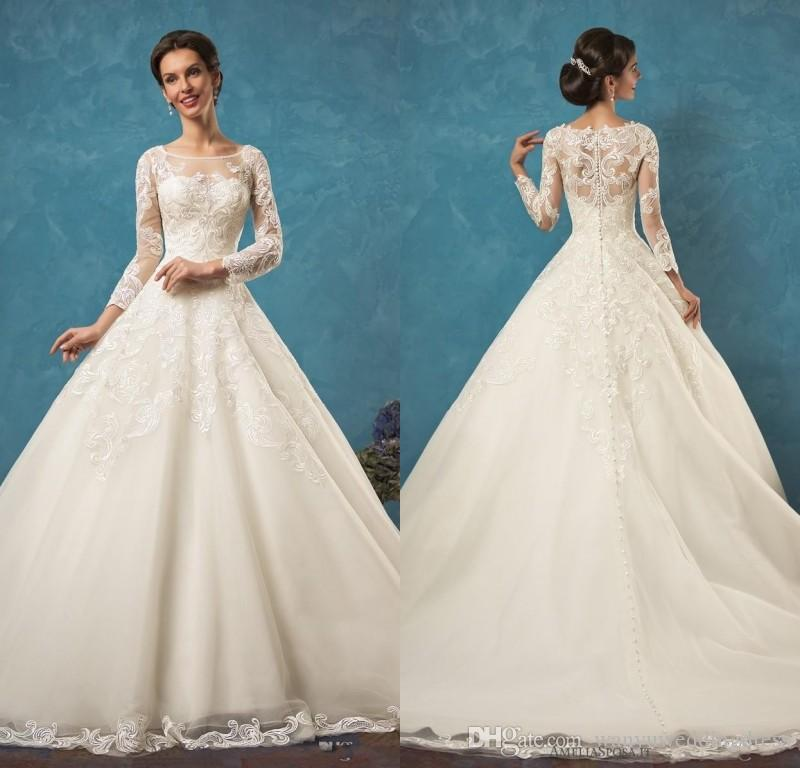 Discount lace long sleeves wedding dresses 2016 jewel neck for Dhgate wedding dresses 2016