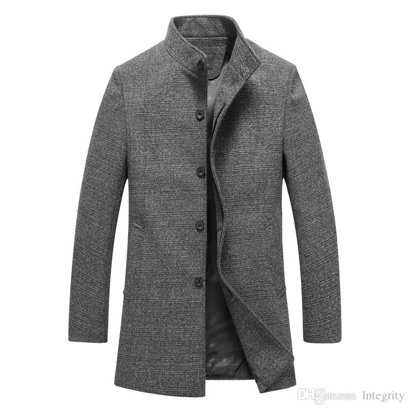 Men's Wool Jackets Spring Autumn Men Woolen Coats Middle Long ...