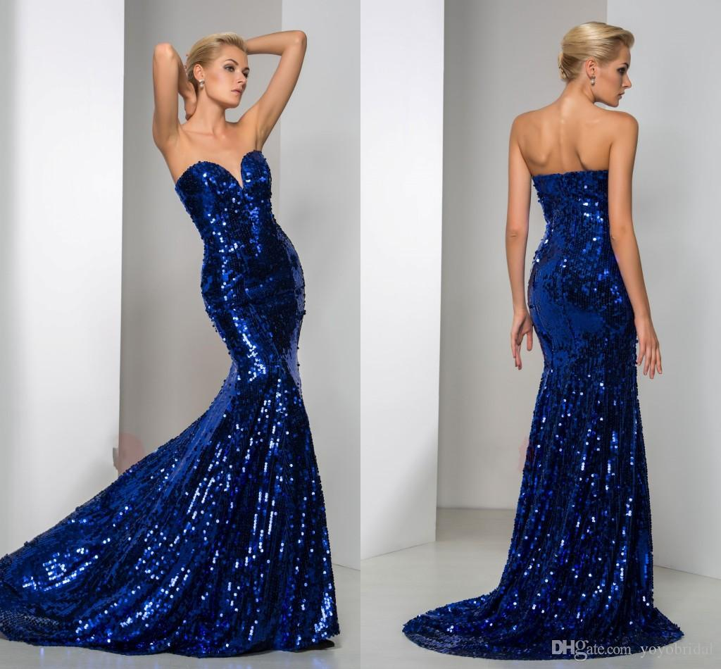 Royal Blue Mermaid Prom Dresses 2017 Cheap Designer Sparkly ...