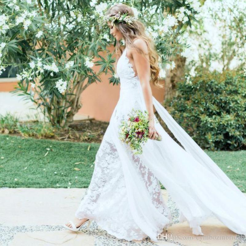 Sexy spaghetti strap beach wedding dress backless v neck for Flowing beach wedding dresses
