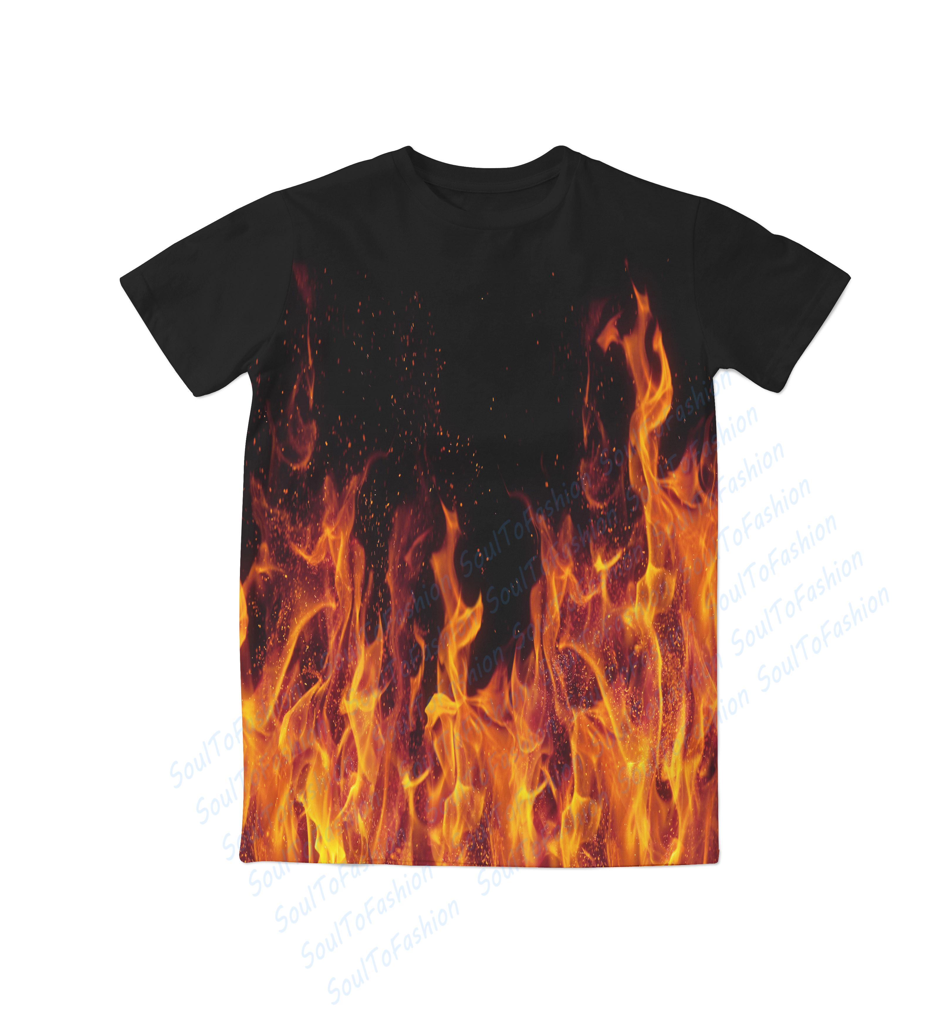 Real usa size fire flames 3d sublimation print t shirt for On fire brand t shirts