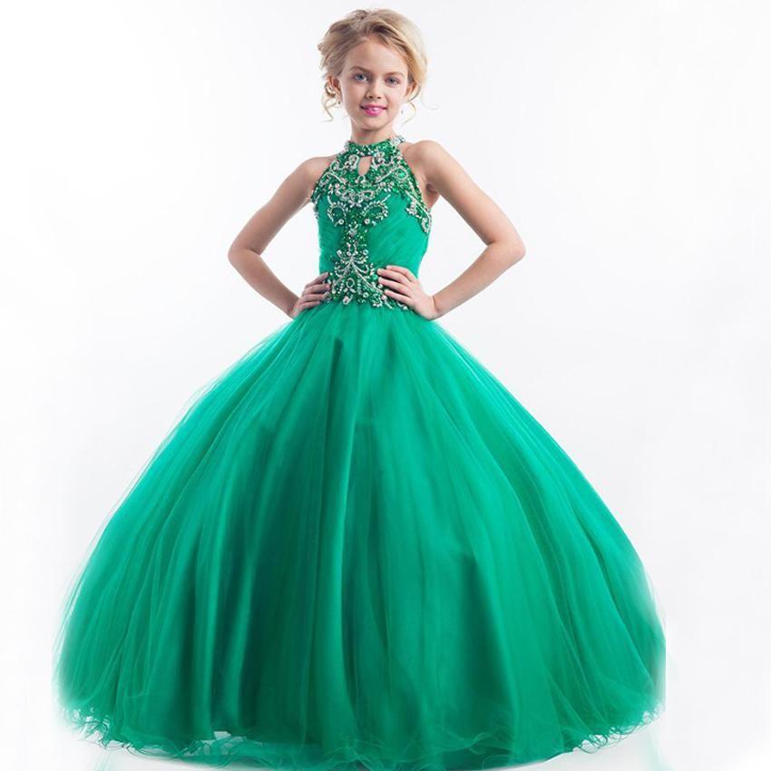 Dress 2016 halter back zipper girl pageant dress for kid s wedding