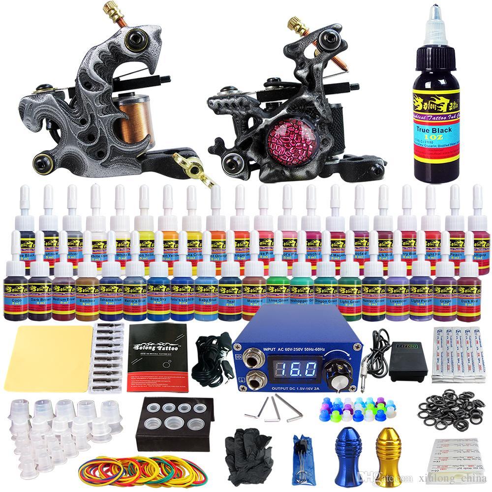 Solong tattoo complete tattoo kit 2 tattoo machine guns 54 for Full tattoo kit