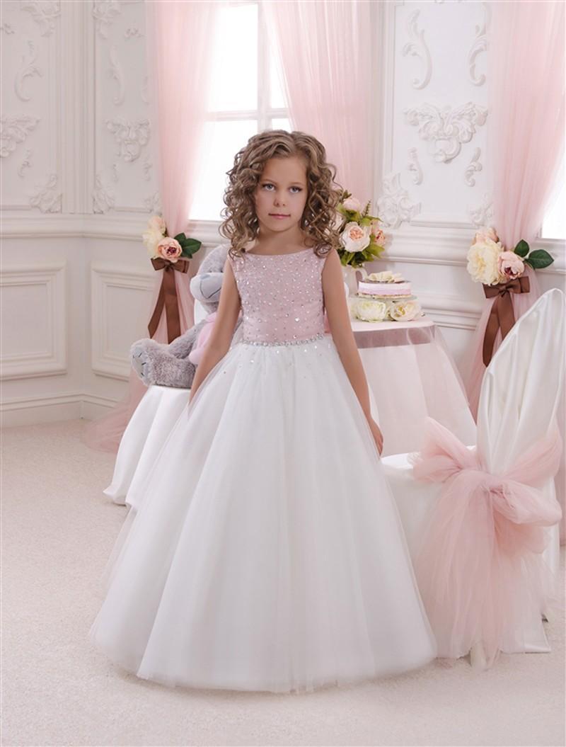 Tulle floor length first communion dresses for girls kids prom dress