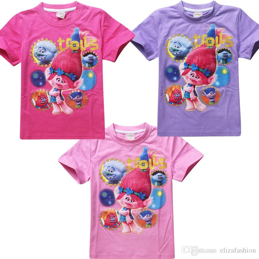 ... Movie T-shirts for Girls Cotton Tees Kids Casual Tops Trolls Costumes