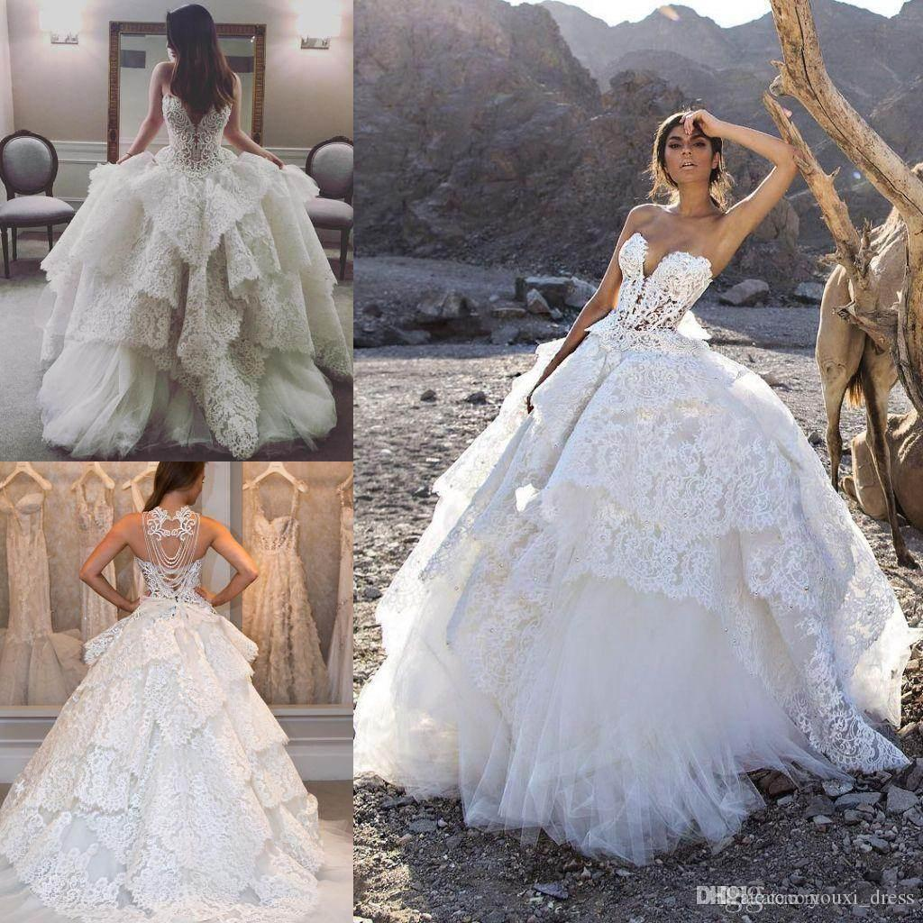 Luxury Lace Wedding Dresses 2016 Beaded Pearls Tiered