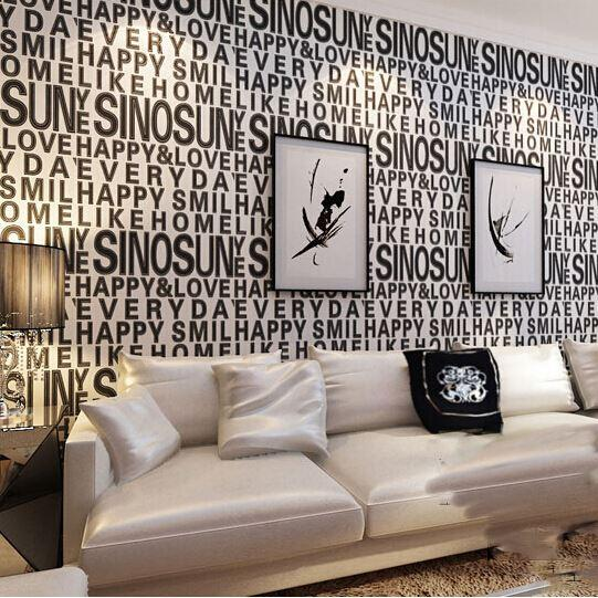 Home Decor Black White 3d Wallpaper Roll Decor For Background Wall Modern  Fashion Shimmer English Alphabet