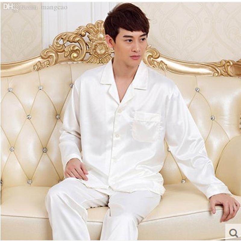 2017 Wholesale 2016 New Luxurious Long Sleeve Silk Pajamas Men ...