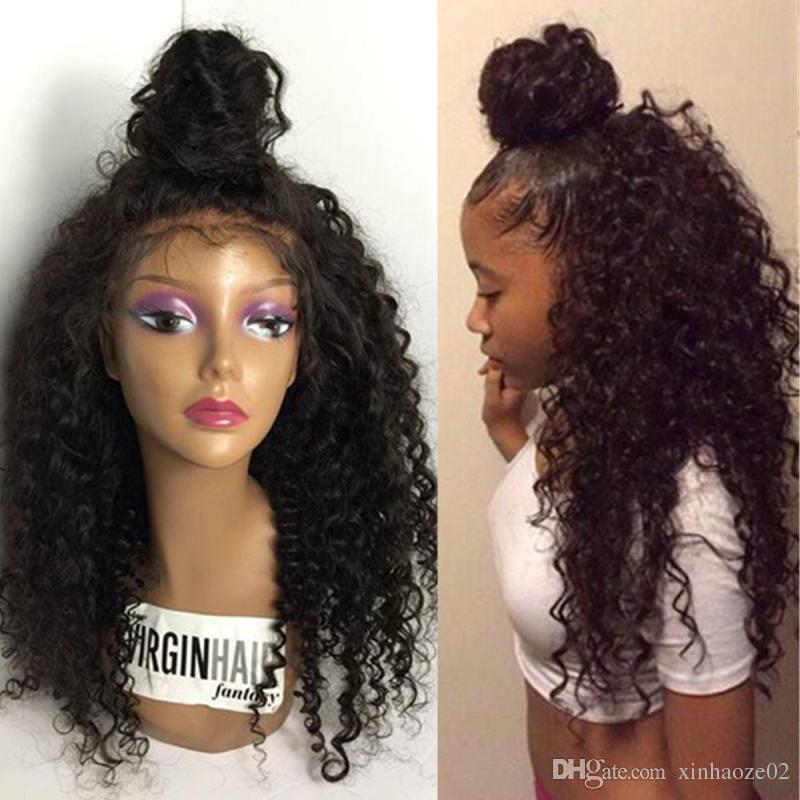 High Ponytail Full Lace Wig Peruvian Glueless Full Lace Curly Human Hair Wigs/Lace Front Wigs ...