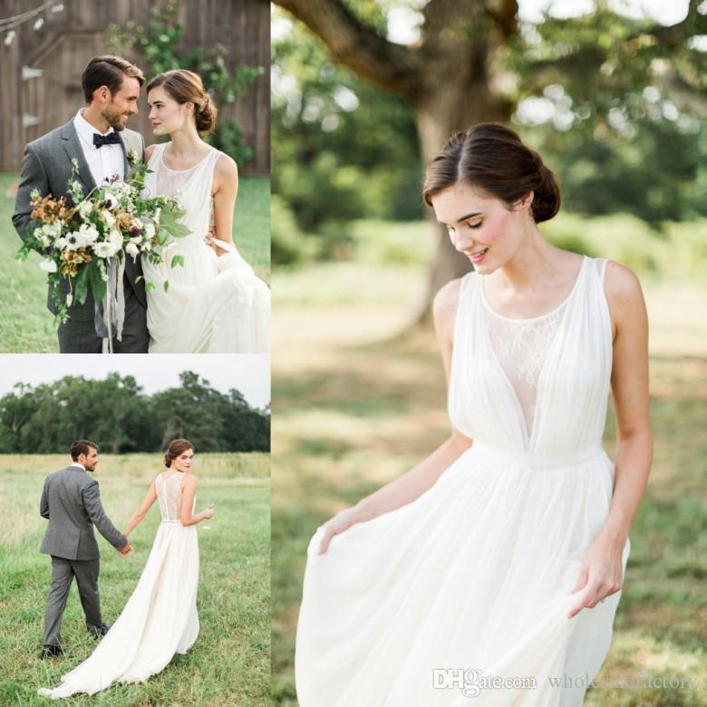 2017 Simple White Country Garden Wedding Dresses A Line
