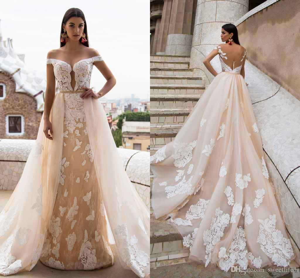 2017 milla nova mermaid wedding dresses with detachable for Mermaid wedding dress with detachable train