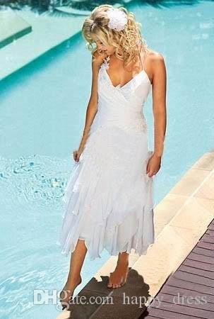 Discount short bohemian beach wedding dresses 2016 with for Short cheap wedding dresses under 100