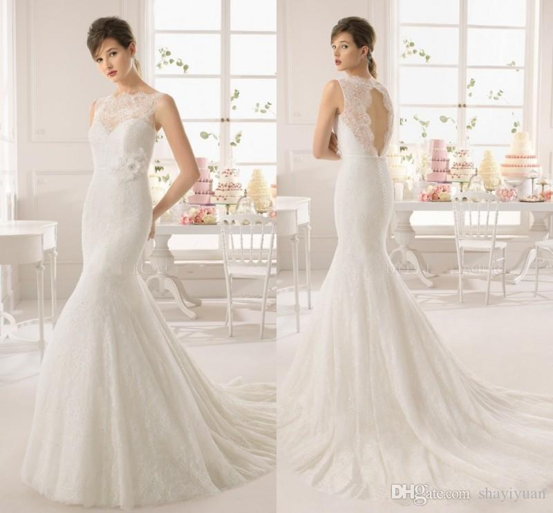 New arrival white lace mermaid wedding dresses 2016 bateau for Mermaid wedding dresses under 500