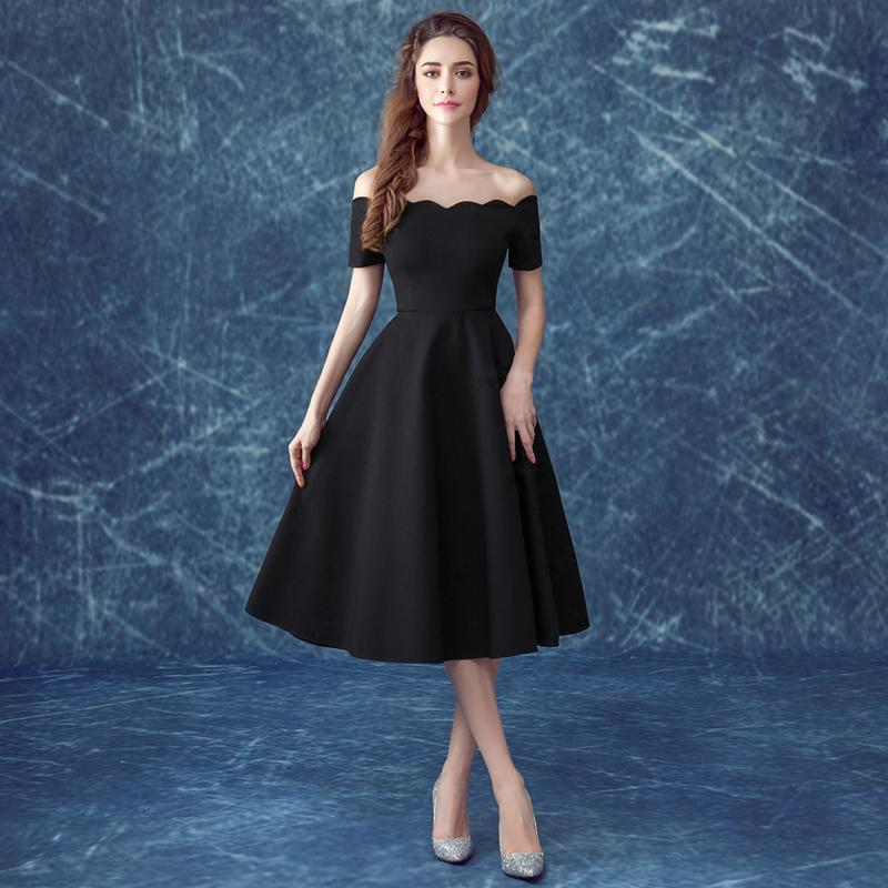 Cheap Wholesale 2016 Fashion Black Evening Dress Boat Neck Off-the ...