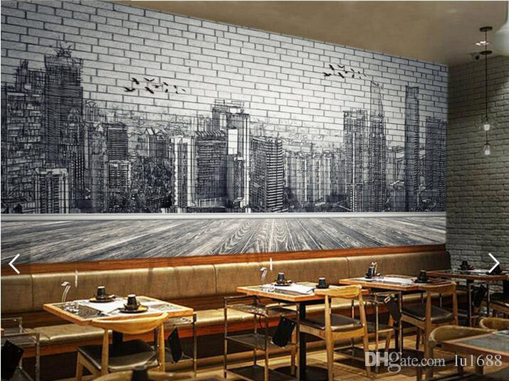 Urban architecture black and white hand painted brick wall for Black and white wall mural wallpaper