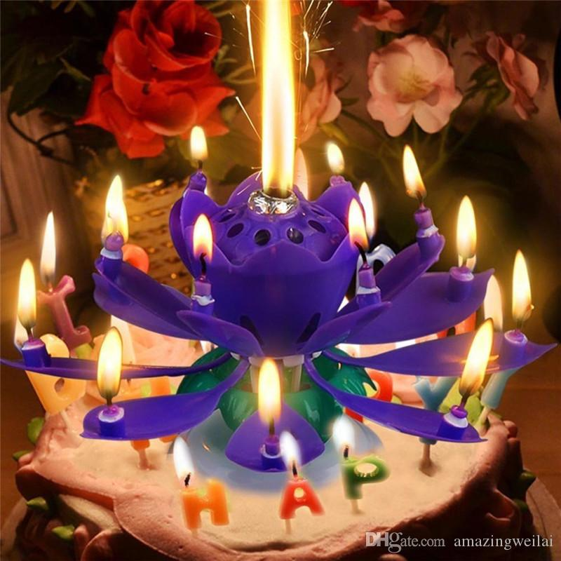 Flower Cake Candle 2017 Magical Happy Birthday Blossom Lotus Music