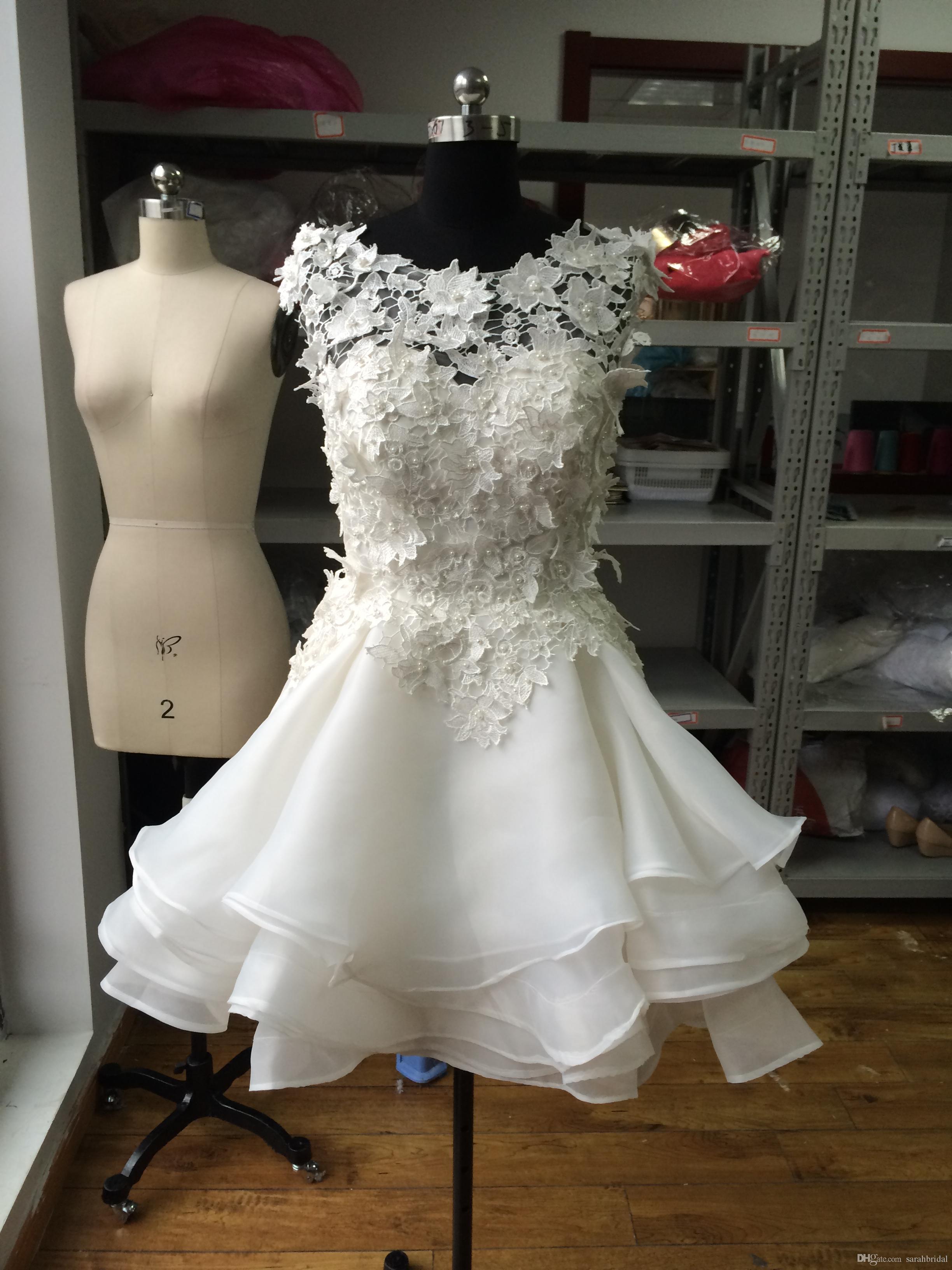 2017 New Short Length Ball Gown Wedding Dresses Appliques Cheap