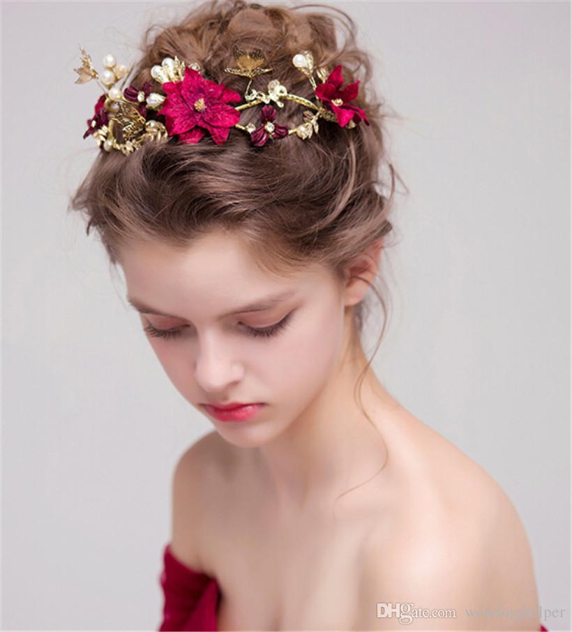Vintage Wedding Bridal Tiara Burgundy Flower Crown Headband Rhinestone Hair Accessories Jewelry