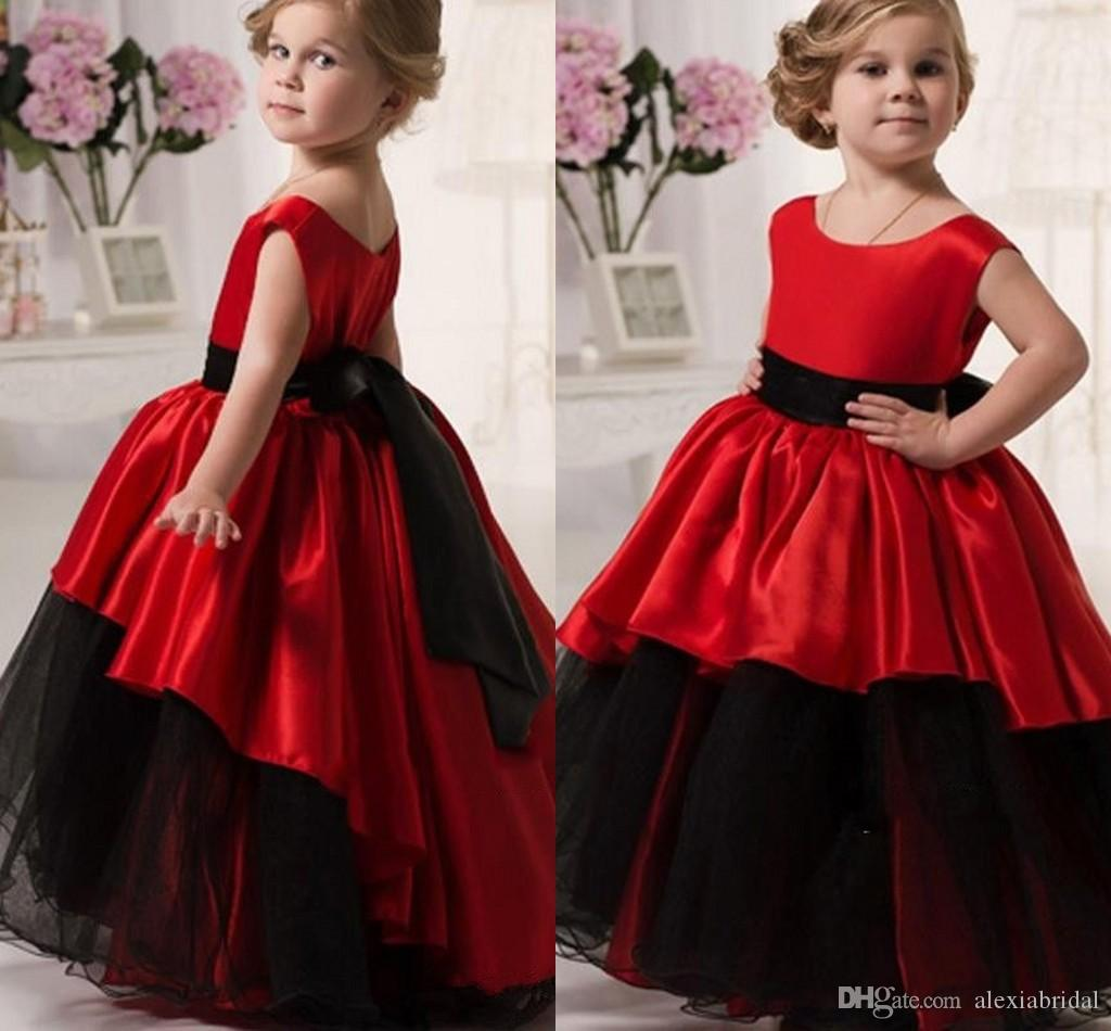 2016 Red And Black Flower Girls Dresses Scoop Waistband Ball Gown Girl W