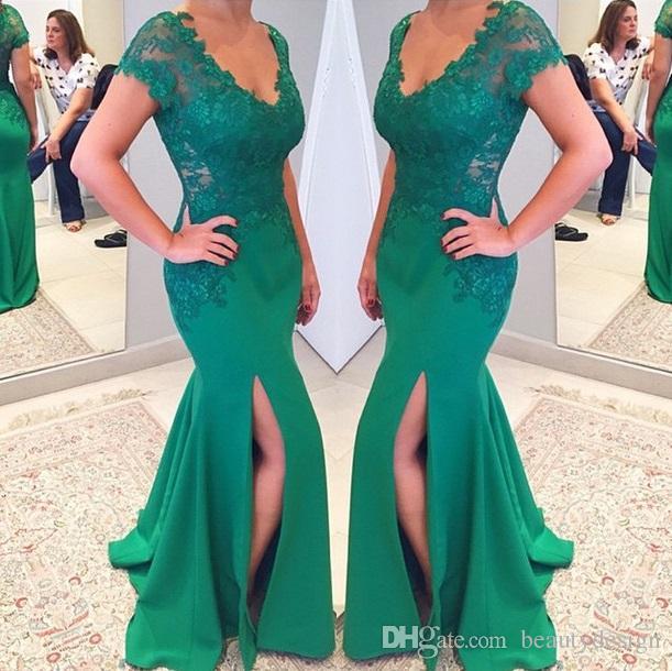 Emerald green mermaid prom dress 2017