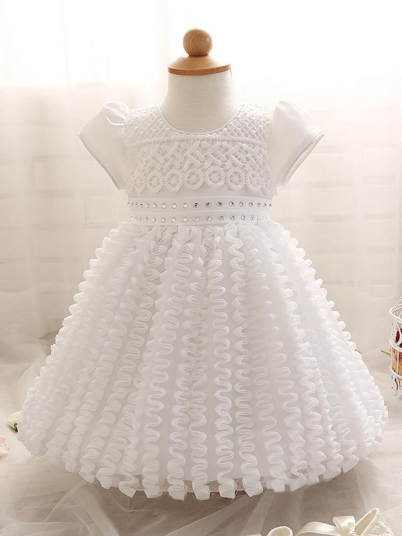 toddler girl white color wedding dress short sleeve baby girl's