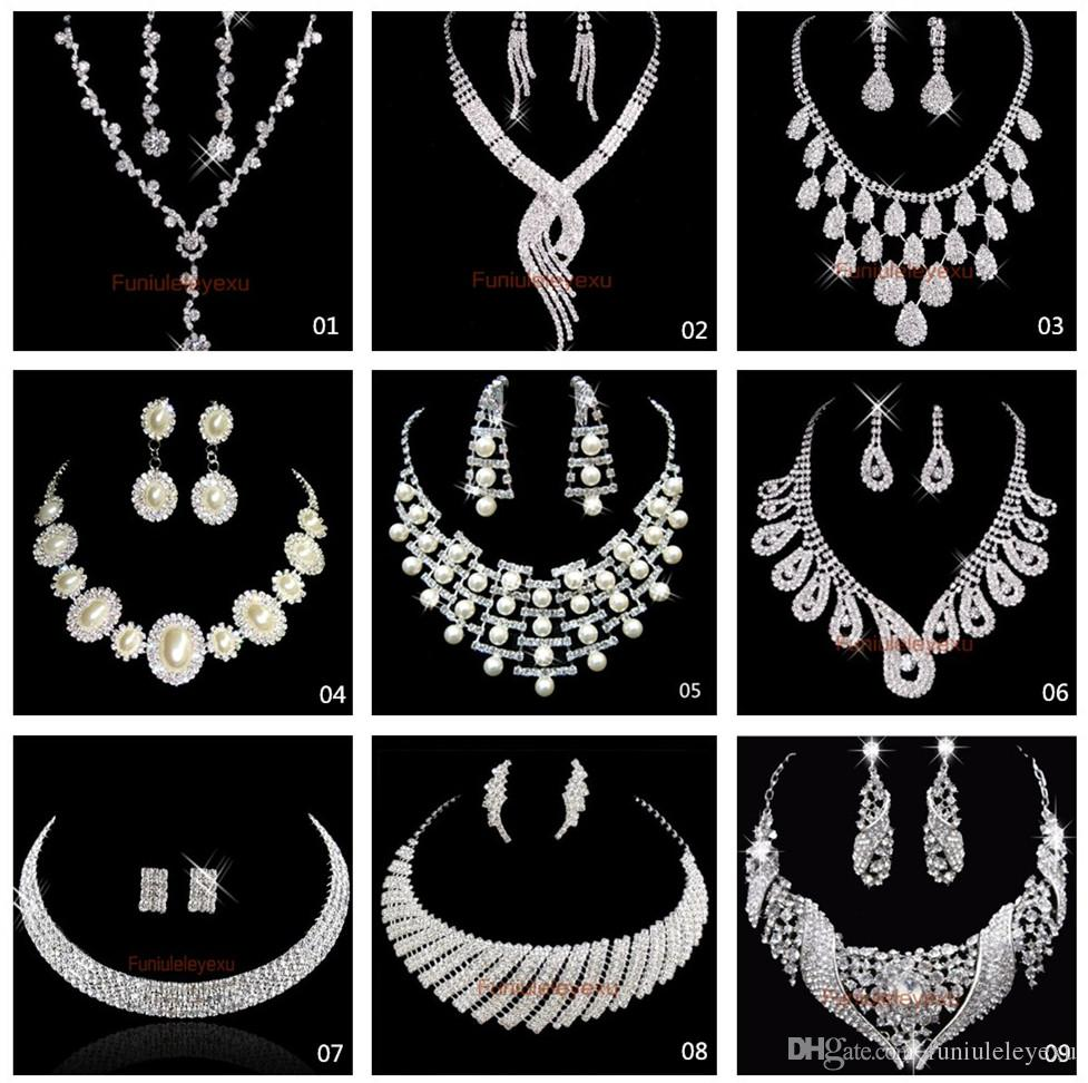 Hot Sale 9 Style Shining Strass Cristaux Wedding Party Bridal Princesse Collier