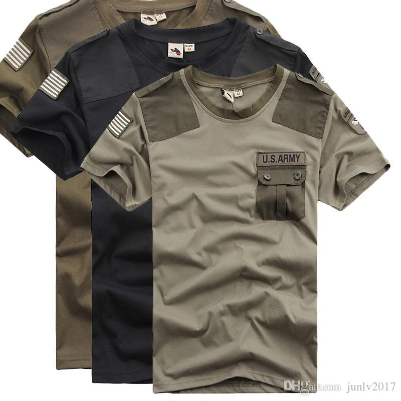 Black Short Sleeve Tops Tee Shirts Men Cotton Tactical Cargo T ...