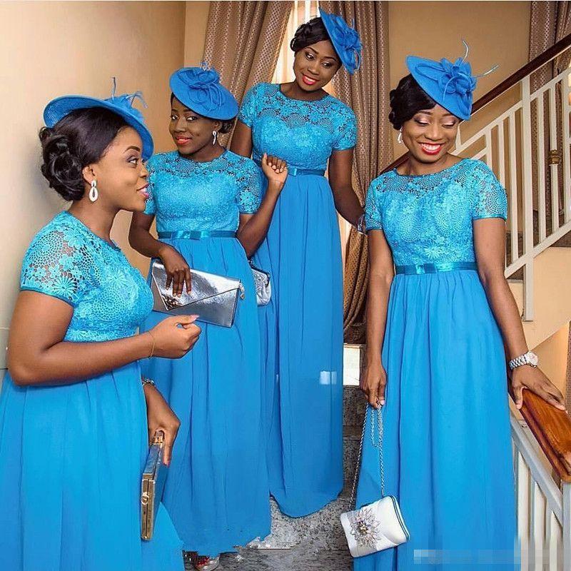 Blue Chiffon Nigeria Bridesmaid Dresses 2016 Vintage Lace