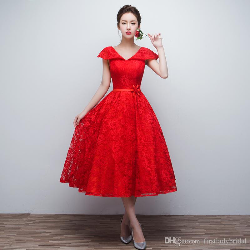 Red Tea Length Mother Of Bride Dresses Lace 2017 A Line
