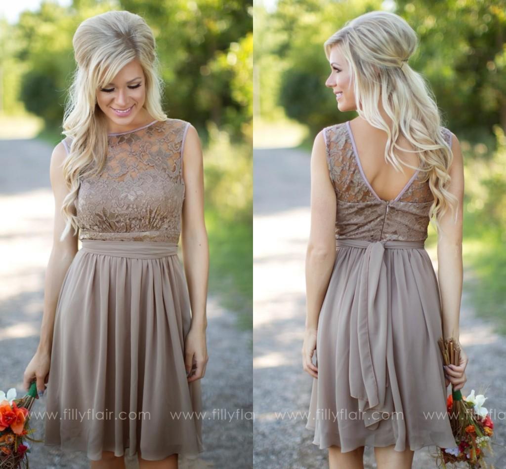 2016 tan new country style bridesmaid dresses jewel sheer