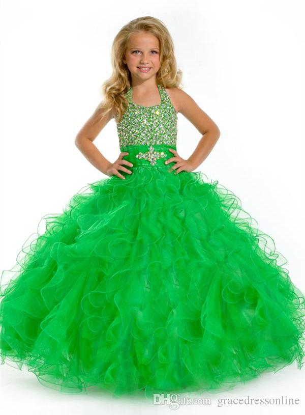 2016 Green Girls Pageant Dresses Halter Organza Ball Gown Flower ...